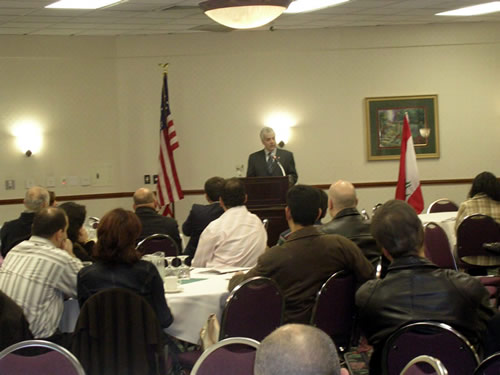 Walid Maalouf delivering his speech to the Lebanese American community ...